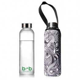 Beautiful Beaches Glass Water Bottle with Stainless Steel Lid & Pouch - 570ml Koru