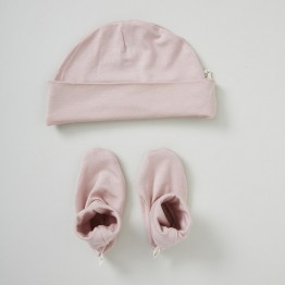 Boody Baby Beanie Bootie Set Rose 0-3mths