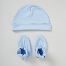 Boody Baby Beanie Bootie Set Sky 0-3mths