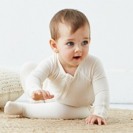 Boody Baby Long Sleeve Onesie - Chalk 0-3mths