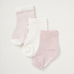 Boody Baby Baby Socks 3 Pack Chalk/Rose 3-6mths