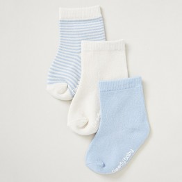 Boody Baby Baby Socks 3 Pack Chalk/Sky 0-3mths