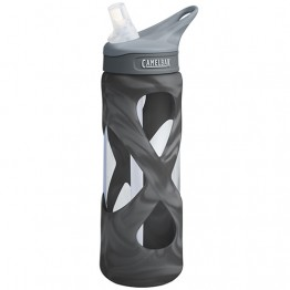 Camelbak Eddy Water Bottle - Glass with silicone cover - 700ml Black Steel