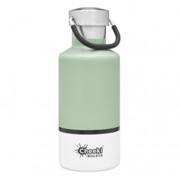 Cheeki Insulated Stainless Steel Water Bottle 400ml - Pistachio & White