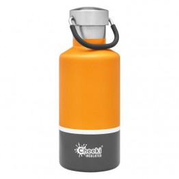 Cheeki Insulated Stainless Steel Water Bottle 400ml - Sunshine & Grey