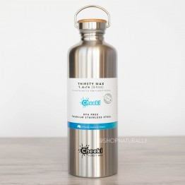Cheeki 'Thirsty Max' Stainless Steel Water Bottle 1.6 litres - Silver