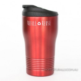Cheeki Stainless Steel Insulated Spillproof Coffee Cup 310ml - Cherry Red
