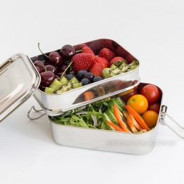 Cheeki Stainless Steel Bento Lunch Box - Double Stacker 1 litre