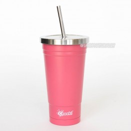 Cheeki Stainless Steel Insulated Smoothie Cup & Straw - 500ml Pink