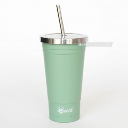 Cheeki Stainless Steel Insulated Smoothie Cup & Straw - 500ml Pistachio