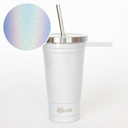 Cheeki Stainless Steel Insulated Smoothie Cup & Straw - 500ml Rainbow Pearl