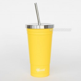 Cheeki Stainless Steel Insulated Smoothie Cup & Straw - 500ml Lemon
