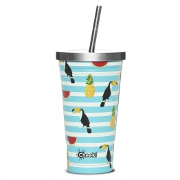 Cheeki Stainless Steel Insulated Smoothie Cup & Straw - 500ml Toucan 3D