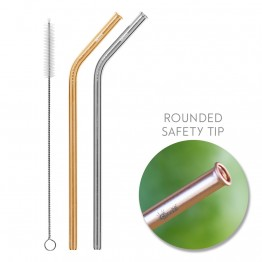 Cheeki Stainless Steel Straws - Bent 2 Pack in Silver & Gold