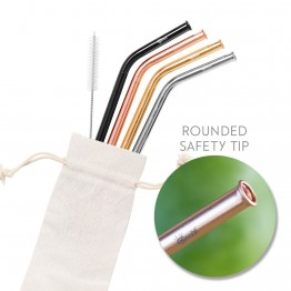 Cheeki Stainless Steel Straws - Bent 4 Pack in Mixed Colours
