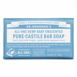 Dr Bronner's Pure Castile Bar Soap - 140g Baby Unscented