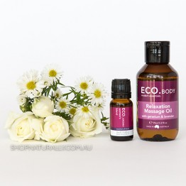 Eco Aroma Relaxation Kit - Massage Oil + Essential Oil Duo