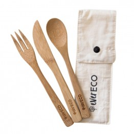 Ever Eco Bamboo Cutlery 3 pack with Organic Cotton Pouch