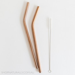 Ever Eco Stainless Steel Bent Drinking Straws 2 pack + cleaning brush - Rose Gold