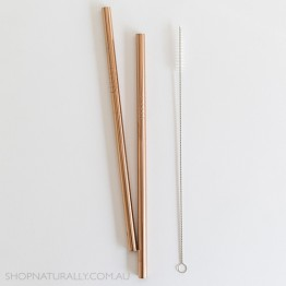 Ever Eco Stainless Steel Straight Drinking Straws 2 pack + cleaning brush - Rose Gold