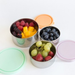 Ever Eco Stainless Steel Round Containers Nesting Trio - Spring Pastels