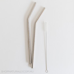 Ever Eco Stainless Steel Bent Drinking Straws 2 pack + cleaning brush - Silver