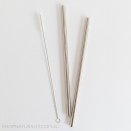 Ever Eco Stainless Steel Straight Drinking Straws 2 pack + cleaning brush - Silver