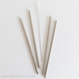 Ever Eco Stainless Steel Straight Drinking Straws 4 pack + cleaning brush - Silver
