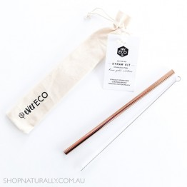 Ever Eco Stainless Steel Straight Drinking Straw + cleaning brush in organic cotton pouch - Rose Gold
