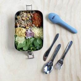 Green Essentials Travel Cutlery in Silicone Pouch - Blue