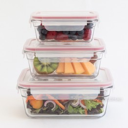 Glasslock Oven Safe Glass Food Container Set - Lunch Box Trio Set