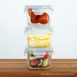 Glasslock Tempered Glass 3 Piece Baby Meal Set - 3 square containers