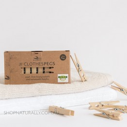 Go Bamboo Biodegradable Bamboo Clothes Pegs - Box of 20