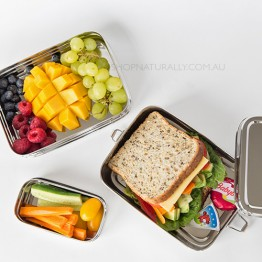Green Essentials Sustain-a-Stacker Stainless Steel Lunch box - large 2 tier + snack container