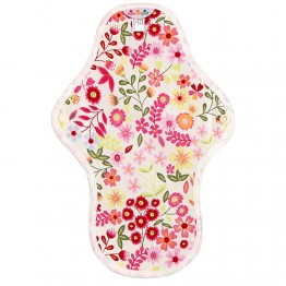 Hannahpad Washable Organic Cotton Sanitary Pad Medium - Flower Garden Pink