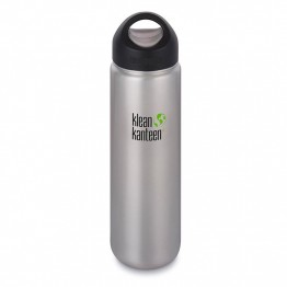 Klean Kanteen Wide Mouth stainless steel drink bottle with stainless steel loop cap - 800ml / 27oz silver