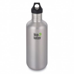 Klean Kanteen Classic Stainless Steel Water Bottle - 1182ml / 40oz Brushed Stainless Steel