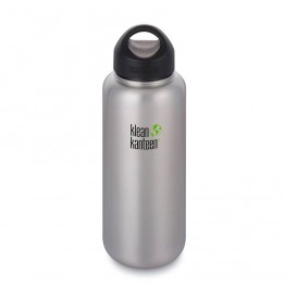 Klean Kanteen Wide Mouth stainless steel drink bottle with stainless steel loop cap - 1182ml / 40oz silver