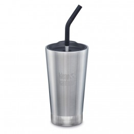 Klean Kanteen Insulated Tumbler with Smoothie Straw Lid - 473ml Brushed Stainless