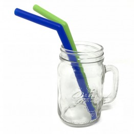 Little Mashies Soft Silicone Straws - Blue & Green 2 Pack