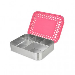 Lunchbots Bento Cinco - Stainless Steel Lunch Box with divider 960ml - pink dots lid