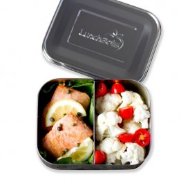 LunchBots Medium Duo - Stainless Steel Lunch Box with divider 600ml - silver lid