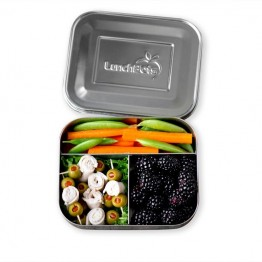 Lunchbots Medium Trio - Stainless Steel Lunch Box with divider 600ml - silver lid