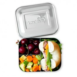 Lunchbots Medium Trio v2 - Stainless Steel Lunch Box with divider 600ml - silver lid