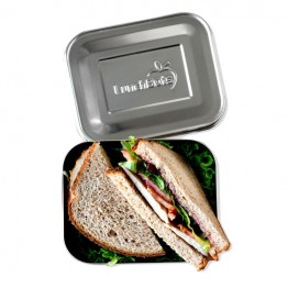 LunchBots Medium Uno - Stainless Steel Lunch Box 600ml - silver lid