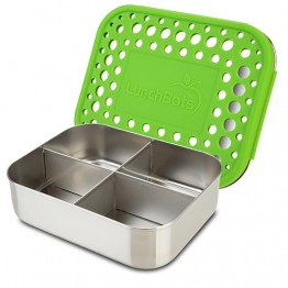 Lunchbots Classic Quad - Stainless Steel Lunch Box with divider 600ml - green dots lid