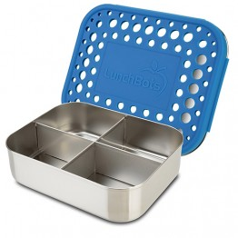 Lunchbots Classic Quad - Stainless Steel Lunch Box with divider 600ml - royal blue dots lid