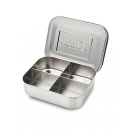 Lunchbots Classic Quad - Stainless Steel Lunch Box with divider 600ml - silver lid