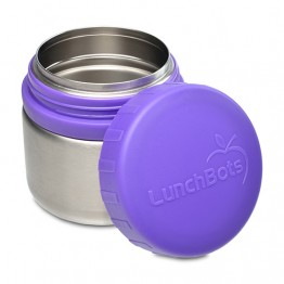Lunchbots Round Stainless Steel Snack Jar - 230ml Purple