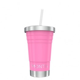 MontiiCo Stainless Steel Insulated MINI Smoothie Cup & Straw - 275ml Pink